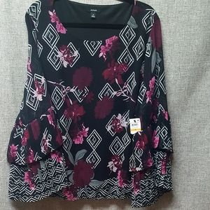 Alfani NWT Bell Sleeved Blouse Black Floral As 3X